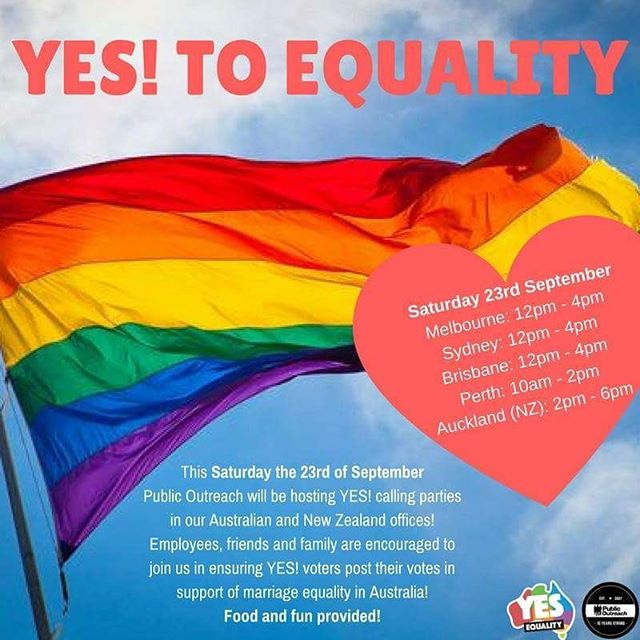 Happy Monday!  Very exciting news today: This Saturday the 23rd of September, Public Outreach offices in Australia and New Zealand will be hosting YES! calling parties in support of Marriage Equality in Australia! All family, partners and friends are encouraged to join us! Send us a message if you're interested and we'll put you in touch with your state's office volunteer representative! 😀❤ #australianmarriageequality #loveislove  Check out yes.org.au for more ways to get involved!