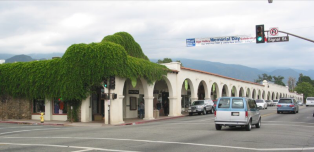 An example of arcade style architecture in Ojai, CA