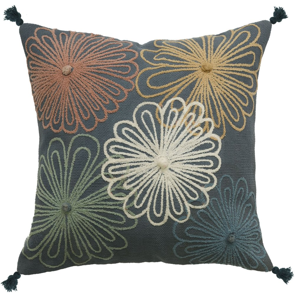 capella flores cushion - floral, tasseled and embroidered