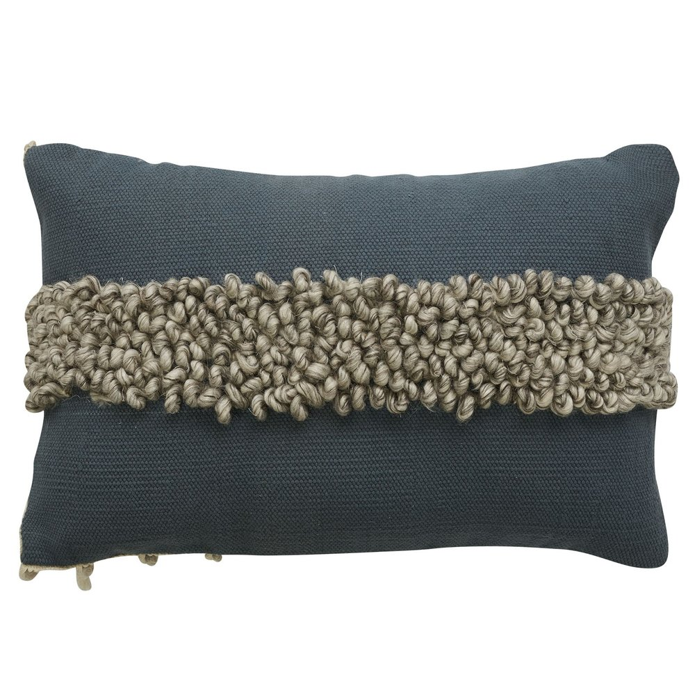 indira pearl cushion - looped wool & woven cotton