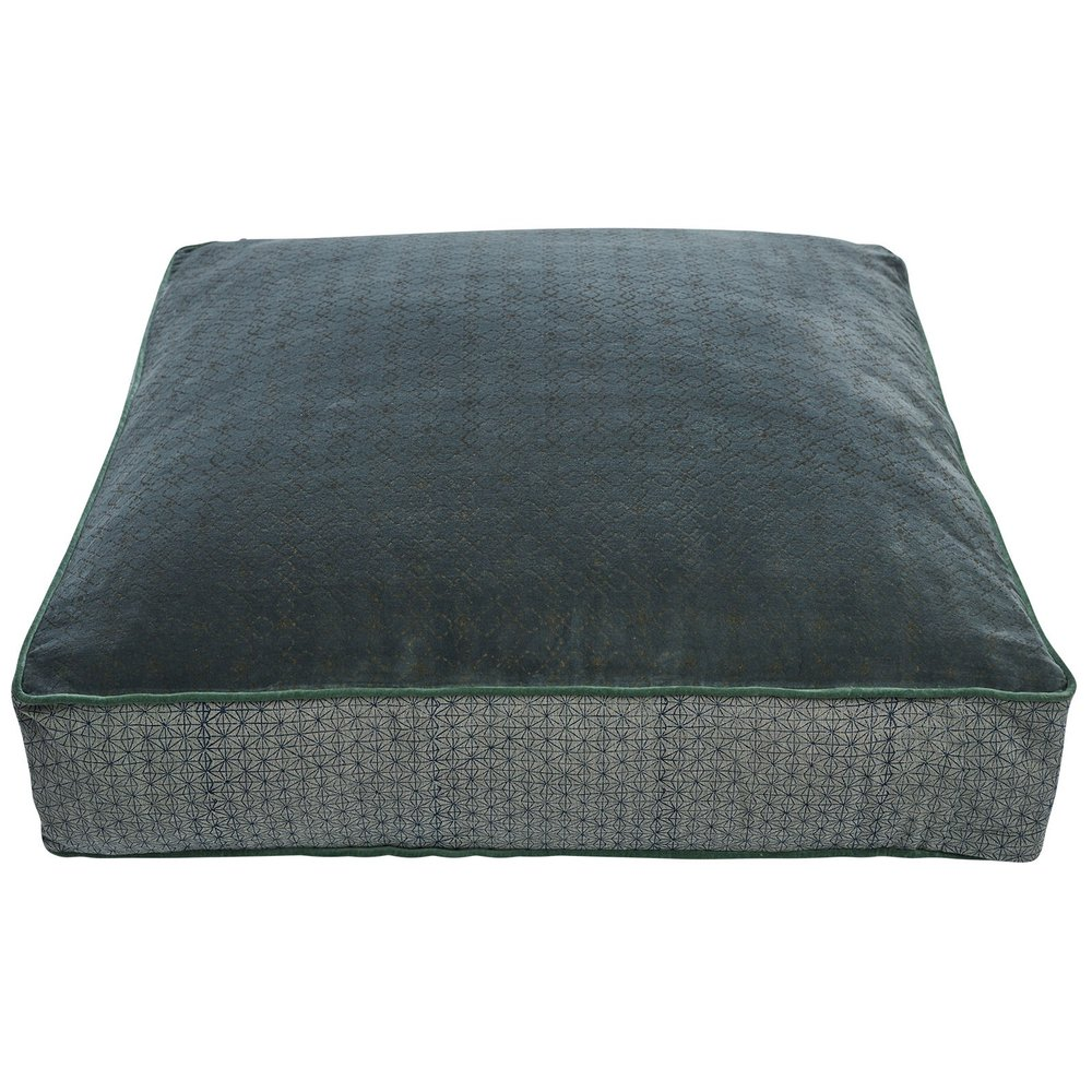 catalina floor cushion - soft velvet and textured chambray