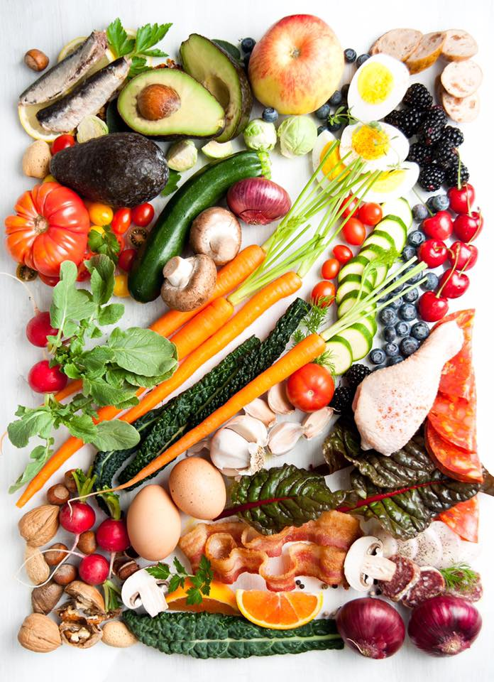 Veggies, meats, a little fruit, and nuts and seeds. Have at 'er!