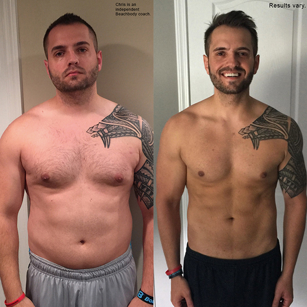 """Chris lost 34.4 pounds in 60 days with 22 Minute Hard Corps and won $5,000!    """"I stuck to it and finished it! I lost 35 lbs in 60 days! Literally I stand here as a new person. And it's more than just the weight loss that excites me. It's the fact that I am healthy again! I am finally back to myself."""""""