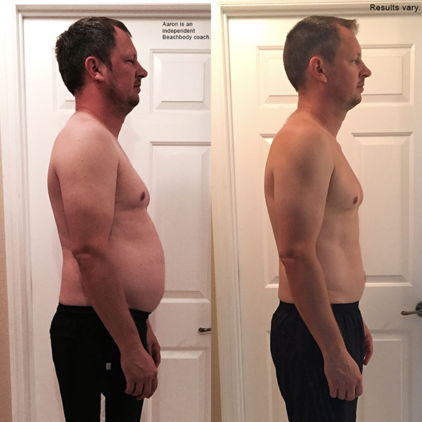 """Aaron lost 24.6 pounds in 60 days with 22 Minute Hard Corps and won $1,000!    """"  I lost 4 inches on my belly, 3.5 inches on my chest, 24.6 pounds and dropped my body fat by 4%. The thing I am most proud of is the change in lifestyle and diet."""""""