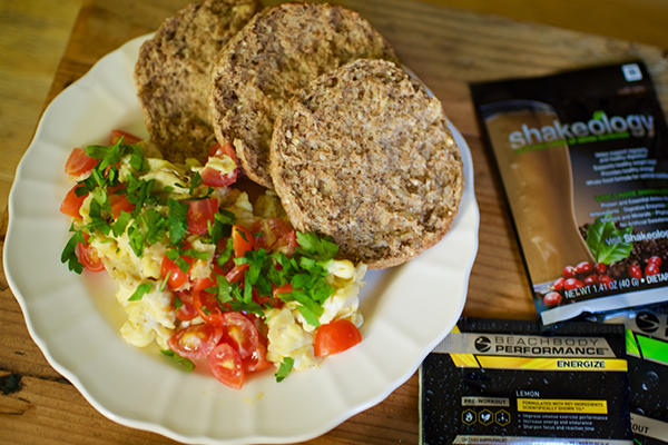 Breakfast   1 serving  Goat Cheese, Tomato, and Parsley Scramble  1½ whole-wheat English muffins   ⅔ scoop  Shakeology  mixed with water