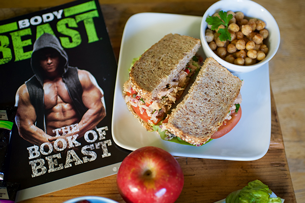 Lunch   1 serving  Mediterranean Tuna Salad Sandwich  ½ cup garbanzo beans (seasoned with paprika)   1 apple