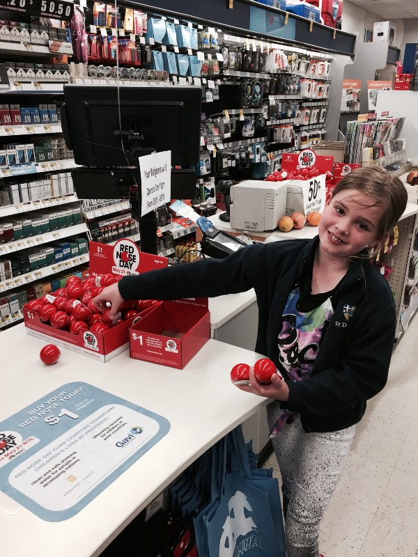 My Daughter Actively Participating in Walgreen's Red Nose Day Campaign