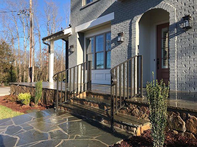 #paintedbrickhouse #andrewlinebergerbuilders #andrewlineberger #flagstone #wroughtiron #landscapephotography #custom #customhomes
