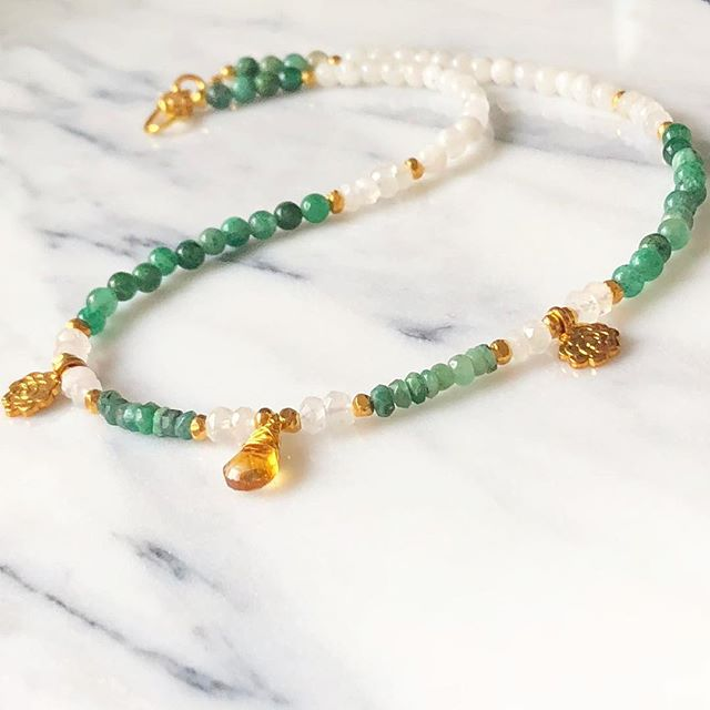 Such a joy to create a custom choker for this forest dwelling beauty @themindincolor. This choker was a surprise for her from her dear friend. We chose genuine emerald, tree agate, moonstone and citrine to capture the essence of nature, family, new beginnings and leadership. Also adorned with two gold filled lotus charms. 💚💛 #adornedwithcourage