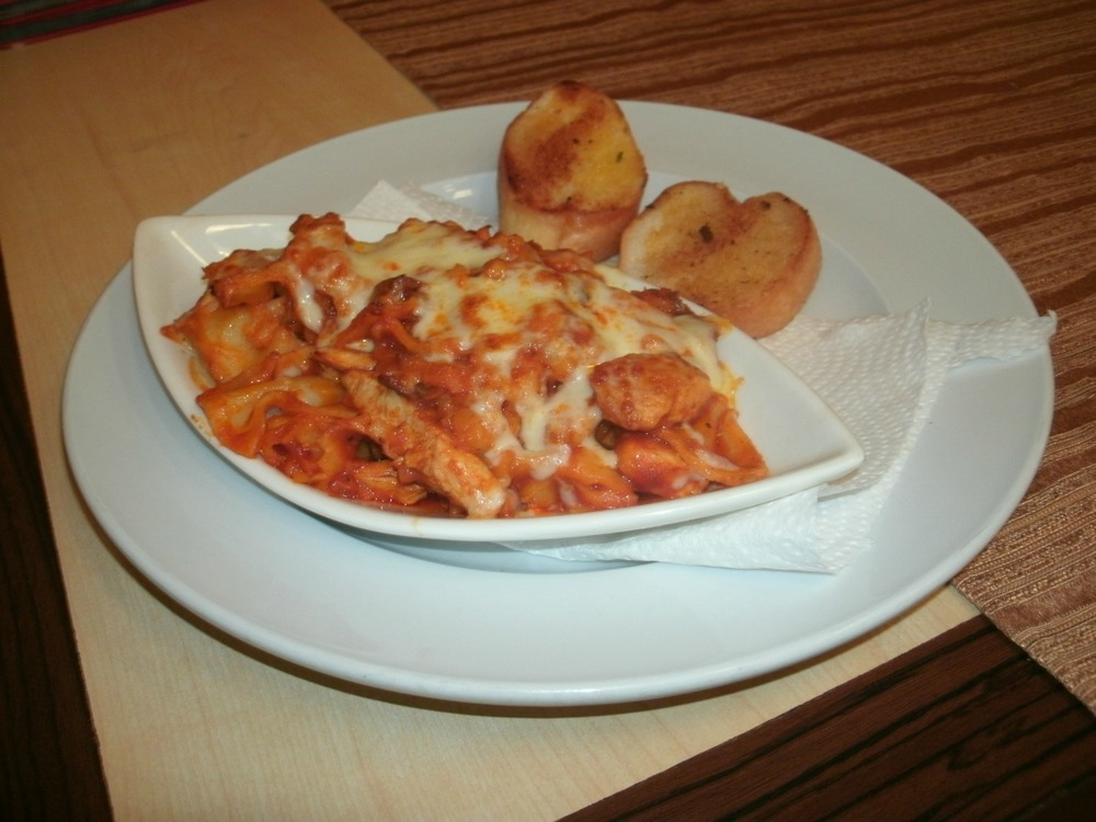 sausage and chicken pasta bake