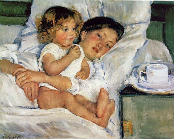 """""""Breakfast in Bed"""" by Mary Cassatt. A reoccurring theme in her work is the mother and child relationship."""