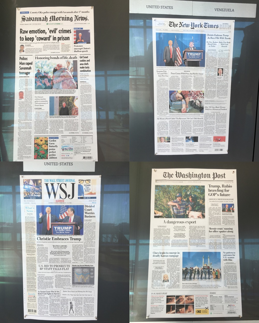 """Pictures I took from the """"Today's Front Pages Gallery."""" Notice what news is important in each location."""