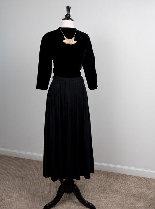 90ad4cc6e5212f Black Wool Pleated Maxi Skirt — COCO + MISCHA