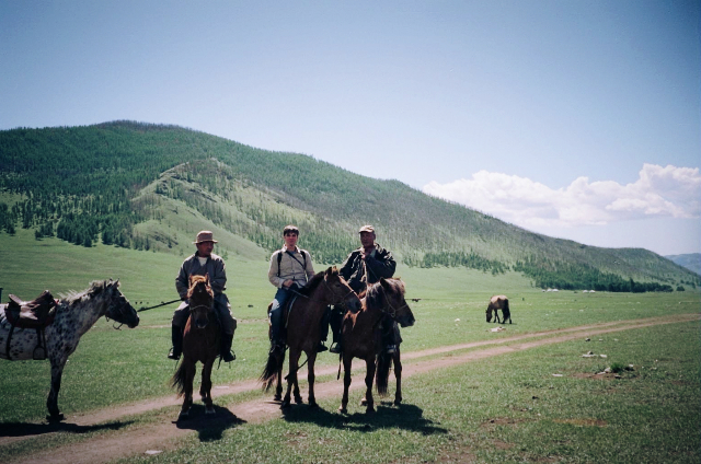 Jeff Boedeker, director, production scout with nomads of the Mongolian Steppe.