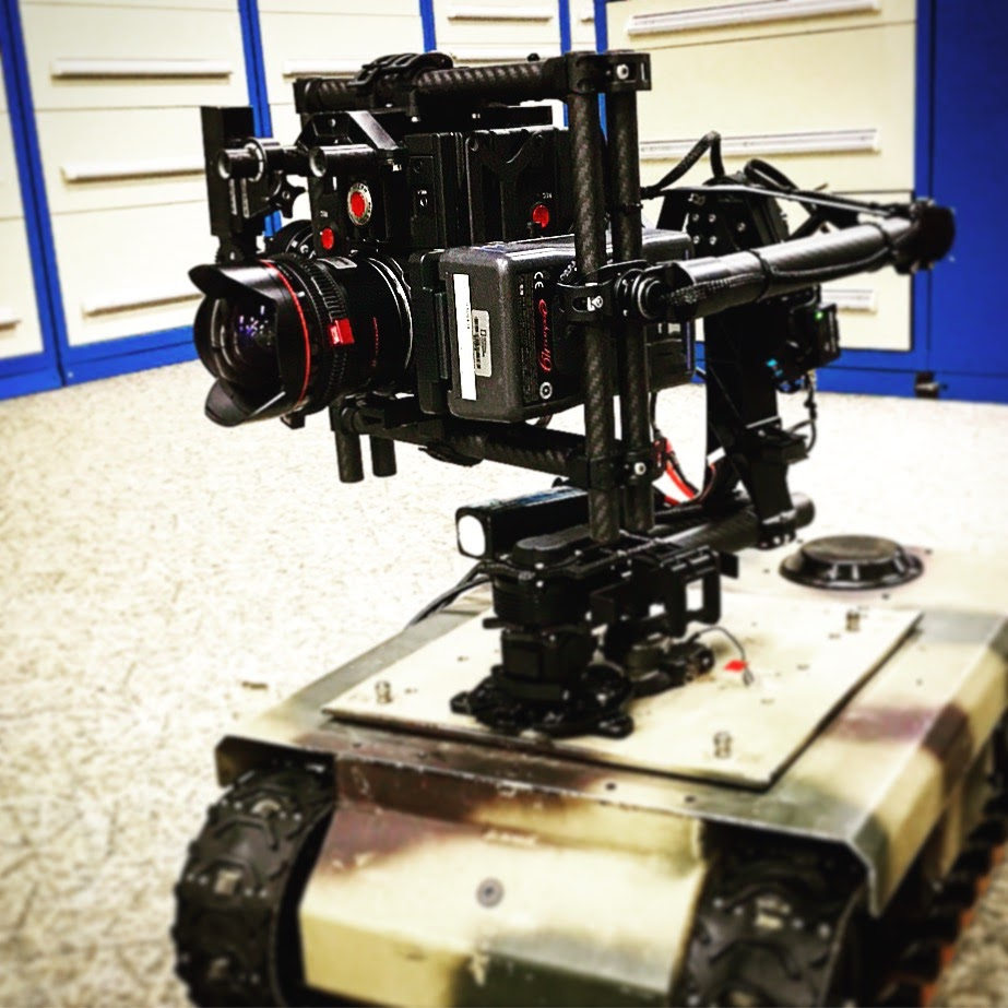 Where no camera has gone before, behold our RED Dragon on a Movi mount atop a drone tank. Lion's den coverage, check. Bear cave, check. War zone, check.