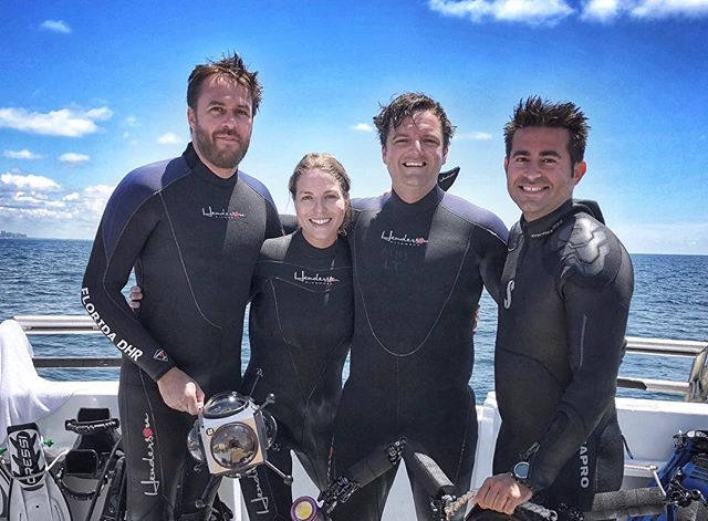 topside just after a successful deep ocean dive filming a panhandle shipwreck.  left to right: Dr. Ryan Duggins (underwater archaeologist), Melissa Price (underwater archaeologist), Jeff Boedeker (film director), John Casagrande (underwater cinematographer) .... not to be confused with his almost as talented brother of same profession @abc4explore 😜.