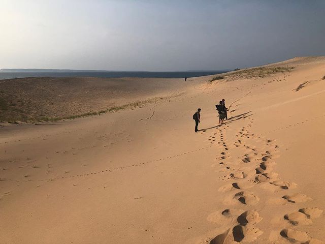 hiking to next shoot location on the dune plateau. . . . . #dunes #nationalpark #documentaryfilm #morraine #sleepingbeardunes