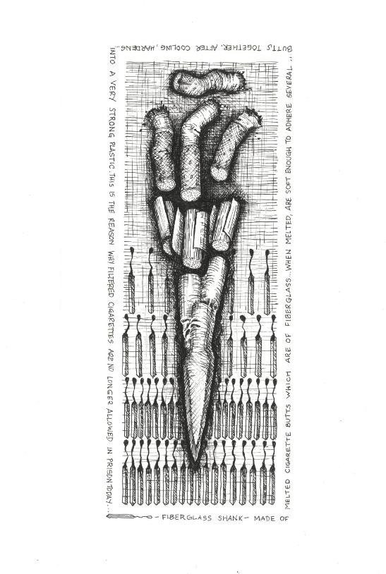 Fiberglass Shank , 2018. Ink on paper.