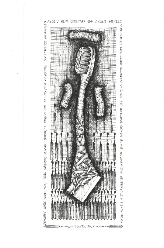 Tooth Pick , 2018. Ink on paper.