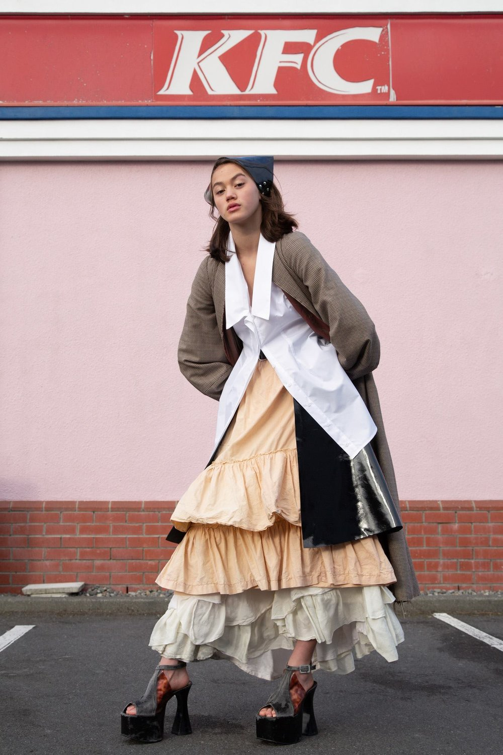 Oyster Magazine 2018   Gemma Orsman wearing JPalm headscarf and skirt