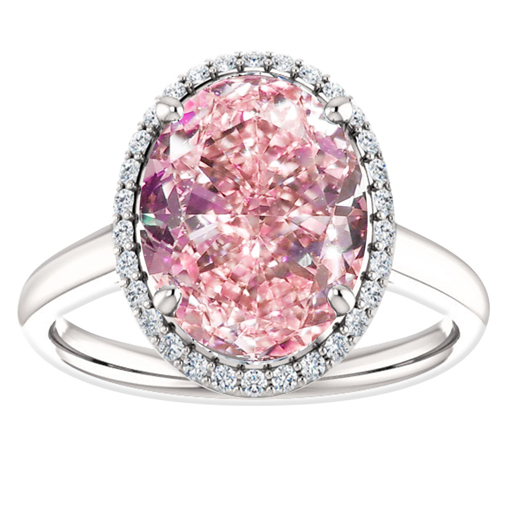 Hugo & Haan White Gold Oval Pink Sapphire Diamond Halo Engagement ...