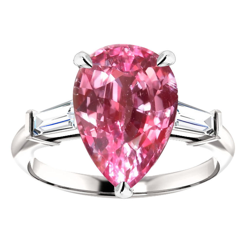 Hugo & Haan White Gold Pear Pink Tourmaline Tapered Trilogy ...