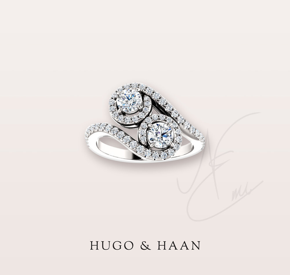 THE CLASSIC - Classic design with a slow wave style to it with two brilliant cut diamonds