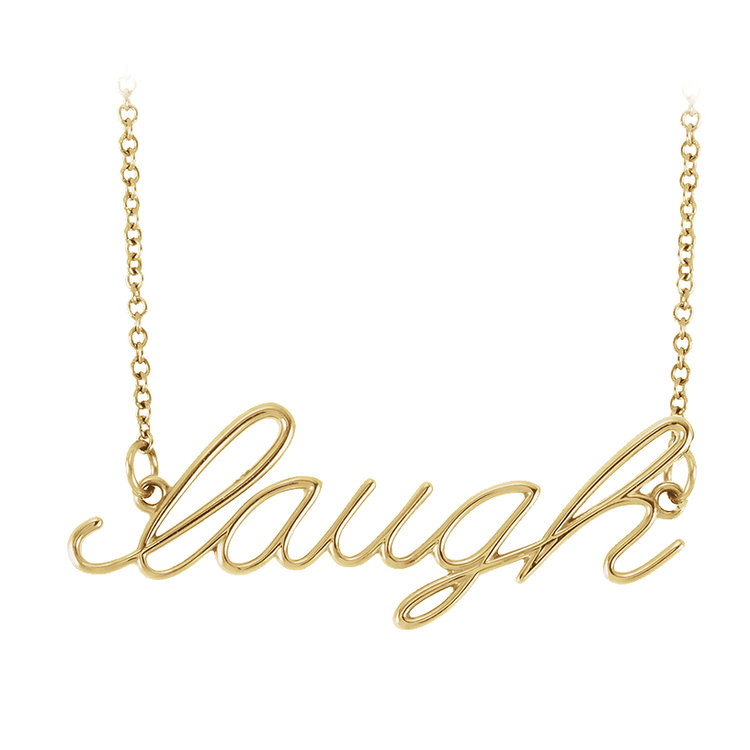 Hugo & Haan 14k Yellow Gold Laugh Pendant Necklace - Because it's truly the best cure for anything.