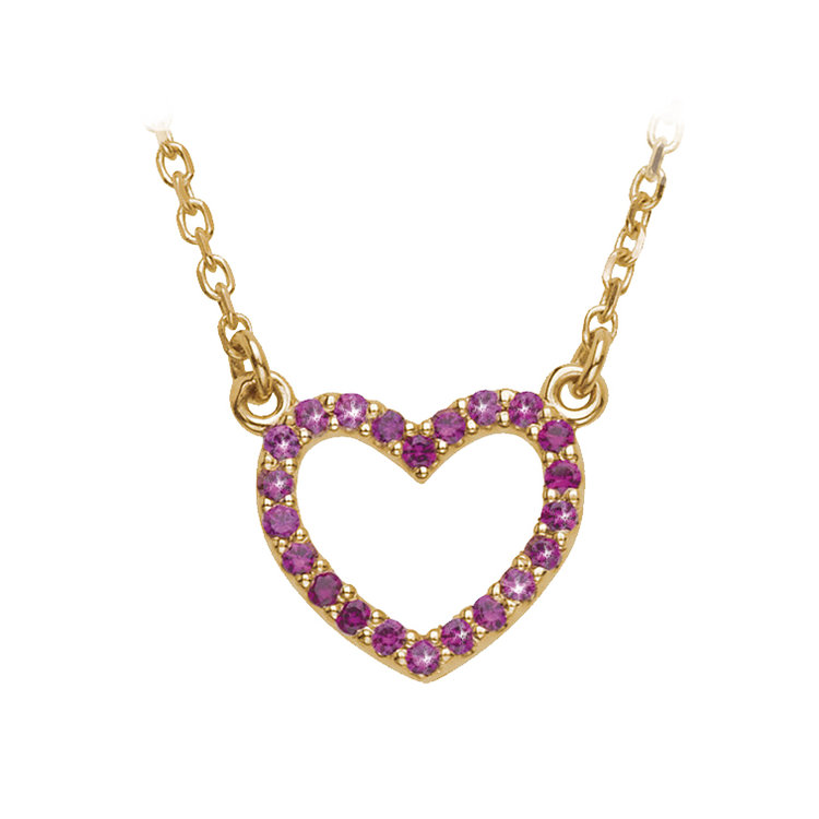 Hugo & Haan 14k Yellow Gold Ruby Heart Necklace Pendant - Injecting a little colour into your everday outfits is always a good idea.
