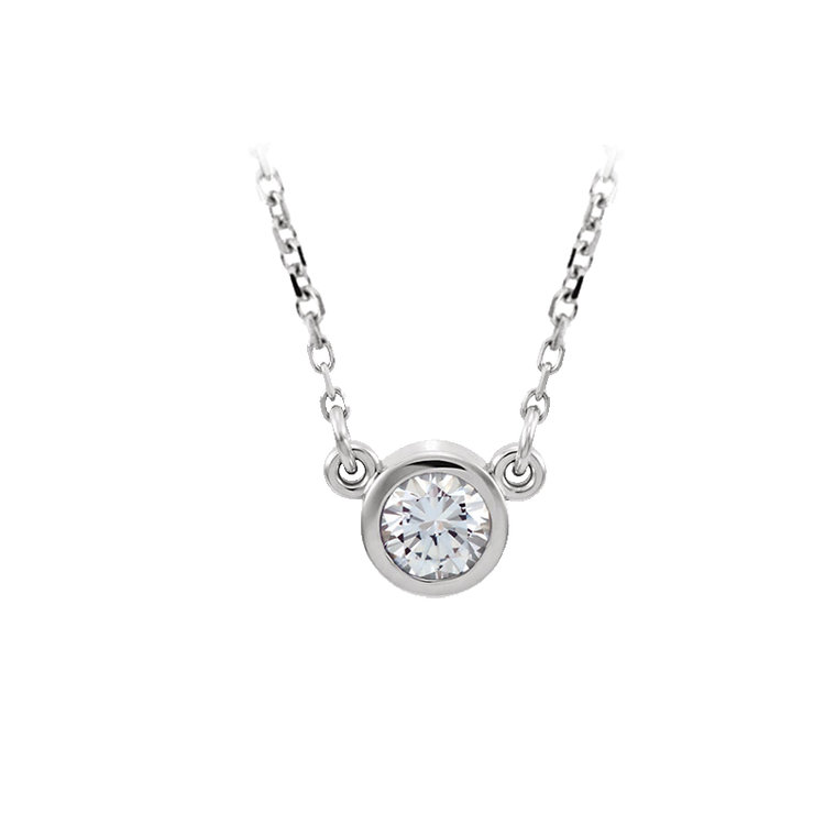 Hugo & Haan 14k White Gold Brilliant Diamond Bezel Set Pendant Necklace - The mini sparkle around your neck that goes with every outfit.