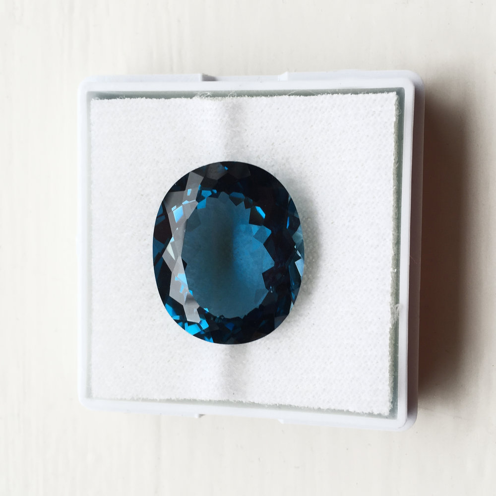 A special treasure - We had the pleasure of setting a beautiful Blue Topaz that she has bought during one of her trips to Africa and it held treasured memories for her.