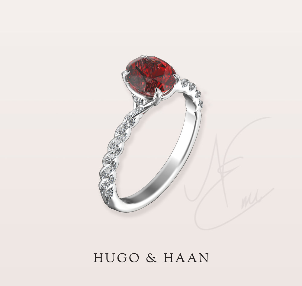 Exploring gemstones - Our client has approached us to help her design a pendant for her Mum and while we were selecting stones for the gift she fell in love with a beautiful red spinel.