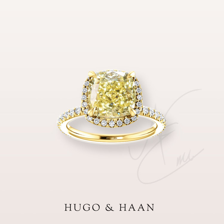 The Giselle Ring - Hugo & Haan Gold GIA Certified Cushion Yellow Diamond Halo Engagement Ring