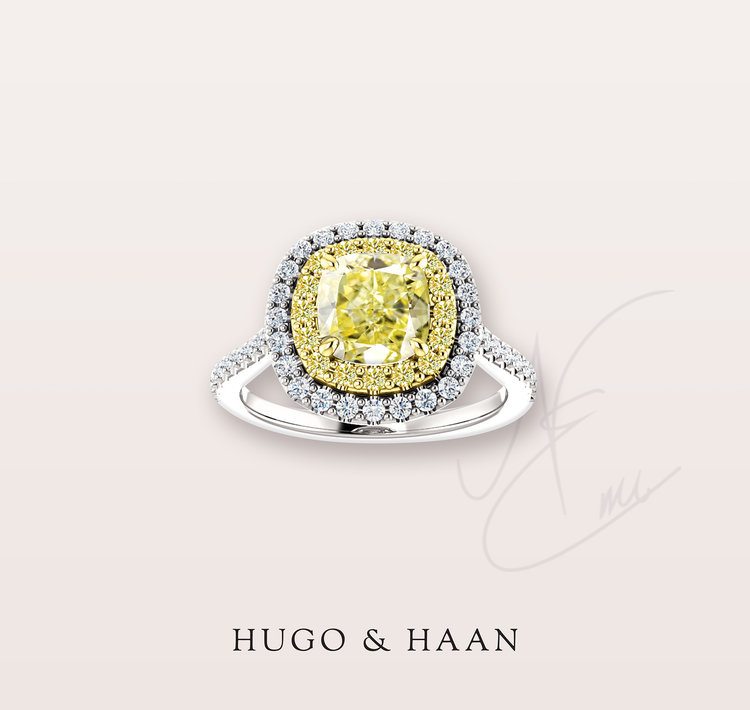 The Liu Ring - Hugo & Haan Gold GIA Certified Yellow Diamond Double Halo Engagement Ring