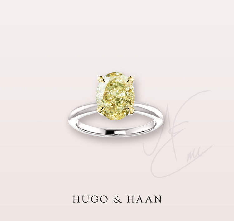 The Angelica Ring  - Hugo & Haan Platinum Gold GIA Certified Oval Yellow Diamond Engagement Ring
