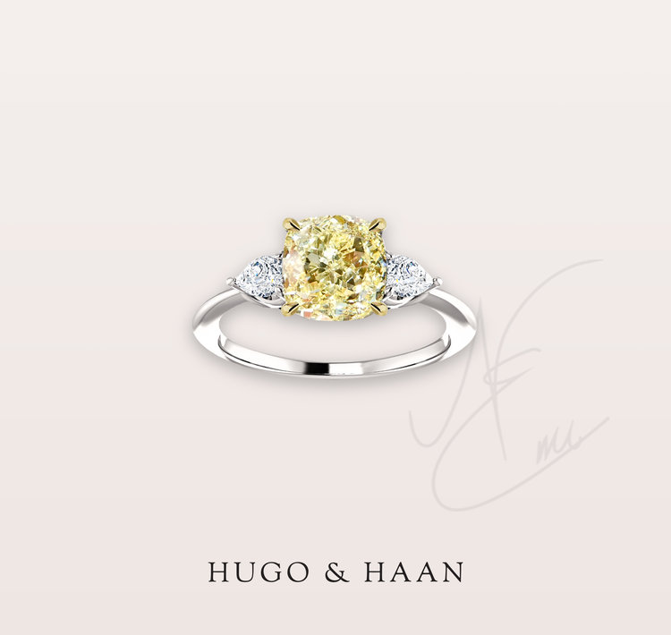 The Annina Ring - Hugo & Haan Platinum Gold GIA certified Cushion Yellow Diamond Pear Side Stone Trilogy Ring