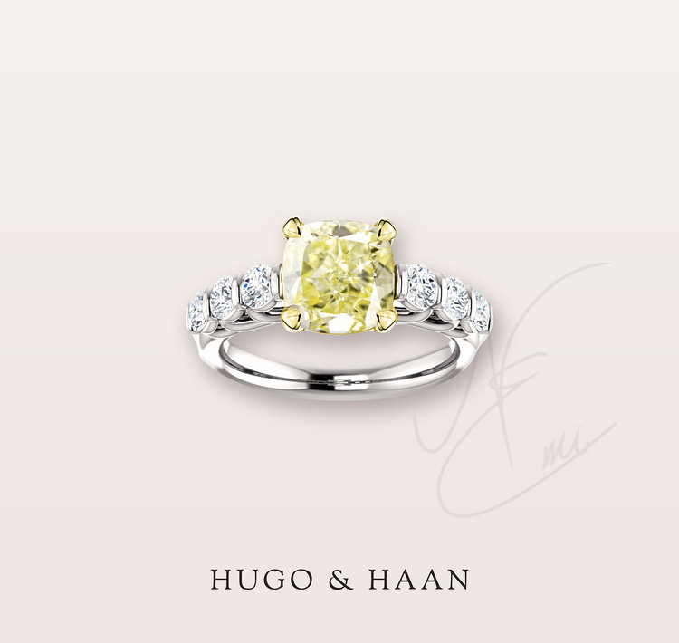The Manon Ring - Hugo & Haan Gold GIA Certified Cushion Yellow Diamond Accented Engagement Ring