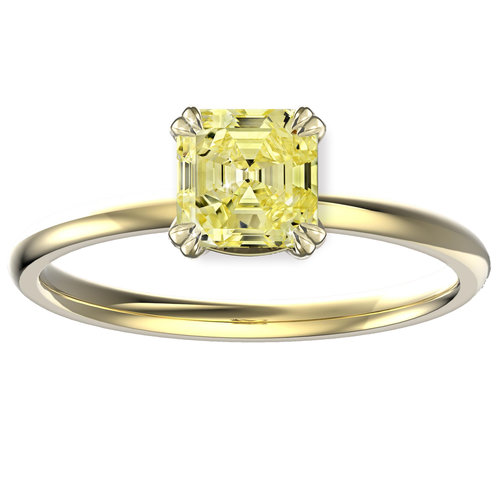 Canary Yellow Diamond Enement Rings | Hugo Haan Gold Gia Certified Radiant Cut Canary Yellow Diamond