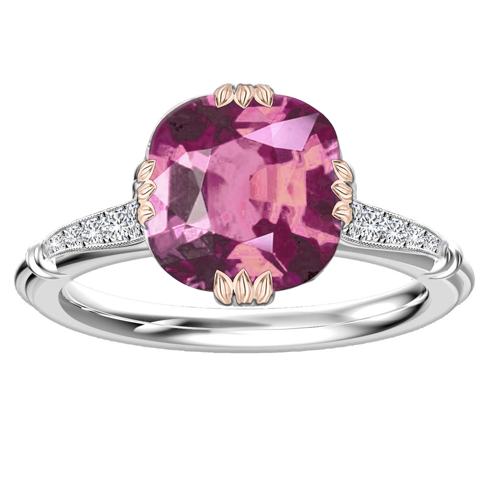 Hugo & Haan White Gold Cushion Cut Pink Sapphire Vintage Floral Leaf ...