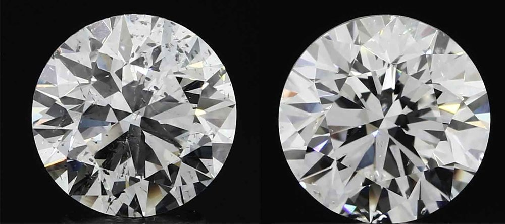 Both of these diamonds are the same quality based on their certificates : both of them are a GIA certified G colour and SI2 clarity. The one on the left is supposed to be better quality based on difference of the cut/polish/symmetry of the certificate however the one on the right is visually more pleasing for the way the inclusions are dispersed within the diamond.