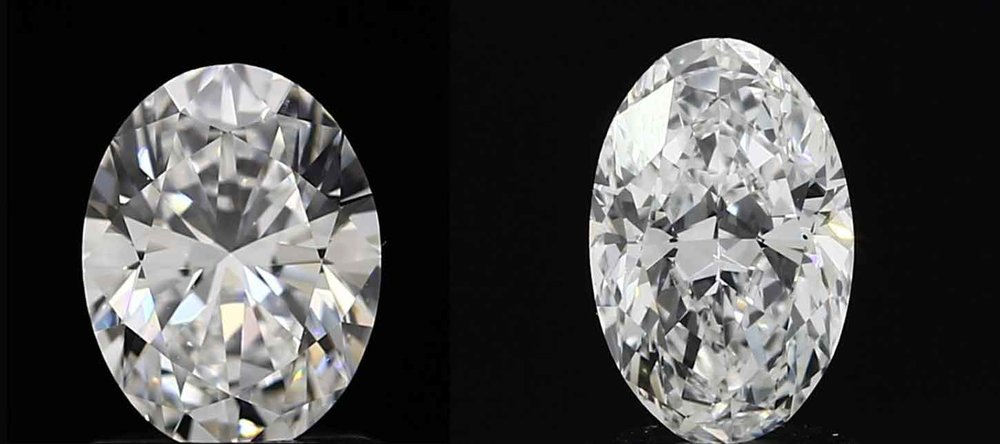 Both of these Oval Diamonds are the same weight (1ct). However the left one is a chubbier oval with a deeper cut thus being smaller whereas the one on the right is a more elongated oval resulting in a visually bigger stone. Again unfortunately this is not something you visualize based on the certificate without seeing the stone.