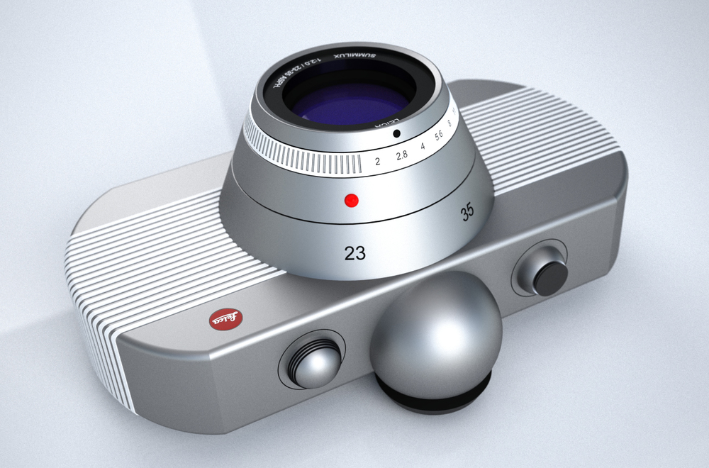 The camera body is wrapped around by thin light grey / white rubber stripes, embedded into the aluminum body, to provide good grip. Pre-Version had 13 stripes, to hint for Leica 1913 foundation year (first cam).