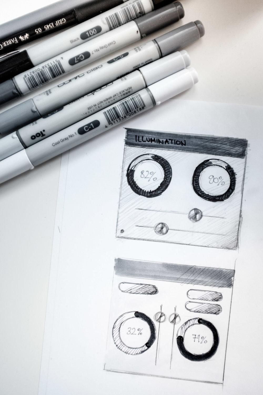 Ausgang jeder UI ,das experimentieren und skizzieren auf Papier.
