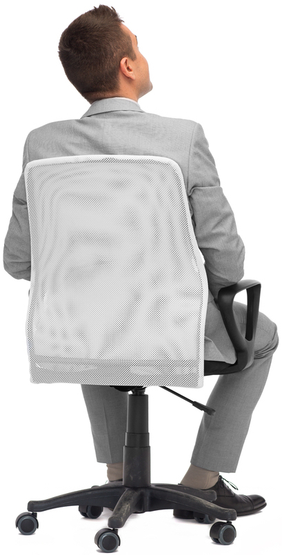 Man sat in ergonomic office chair