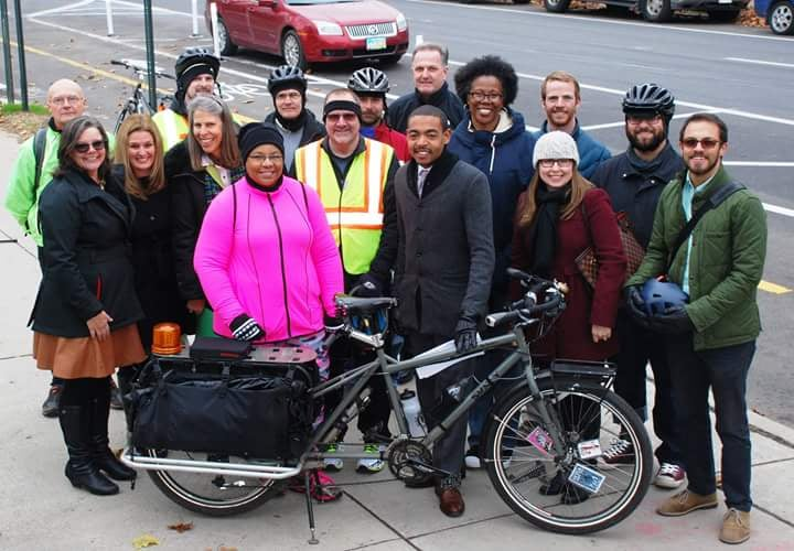 City of Columbus officials and Yay Bikes! volunteers at the official launch of Columbus' first protected bike lanes.
