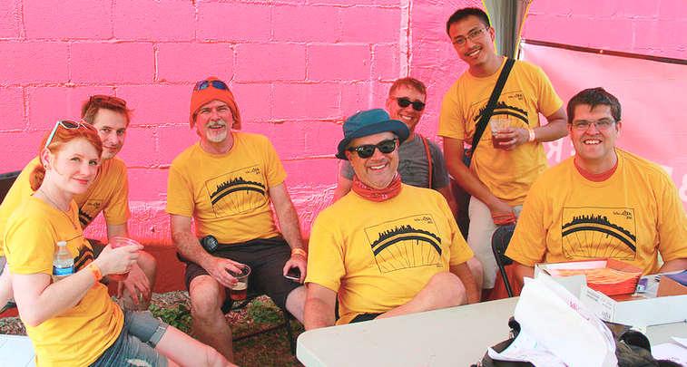Volunteers chillaxin' after the Bike the Cbus shifts.