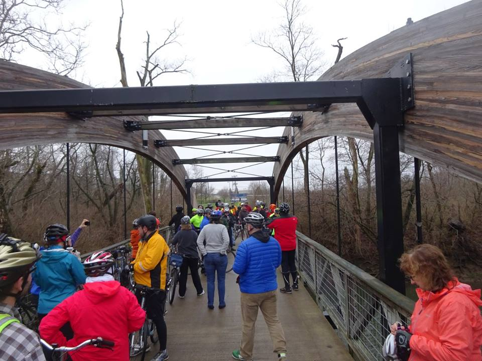 """TAKING it all in"" on the recently completed Alum Creek Trail bridge. Photo credit: Craig Clark"
