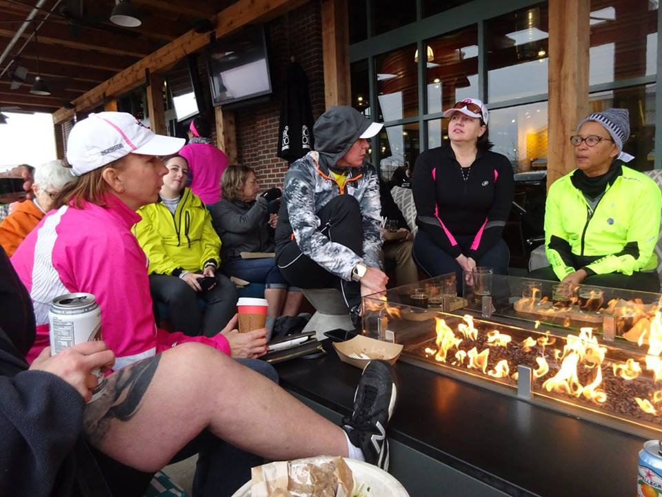 """TAKING a load off"" post-ride at Whole Foods Easton Market's outdoor, fire-warmed seating area."