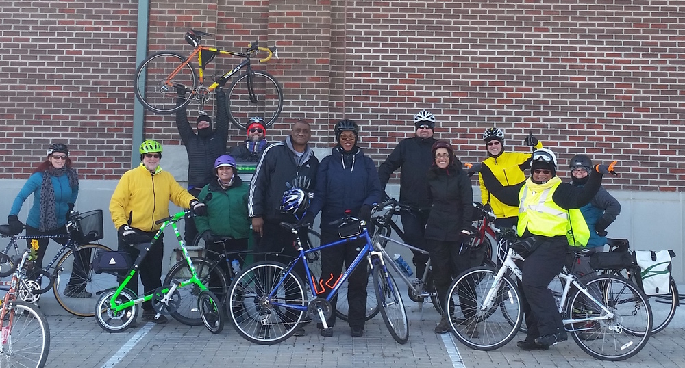 Year of Yay! volunteer ride leads and sweeps on their January 2016 route vetting ride.