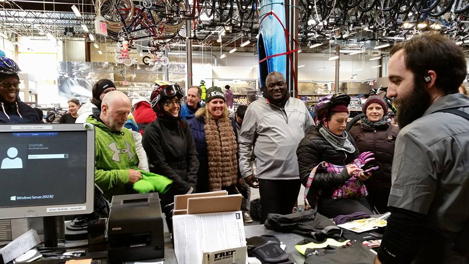 Our group cash bombs the crap out of REI. Photo credit: Catherine Girves